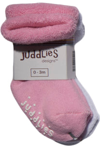 2pk Infant Socks (Pink & White)