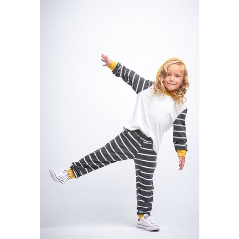 Image of A4582-KIDS STRIPED SOLID HOODIE