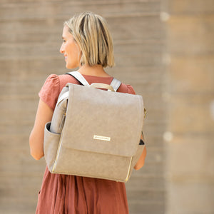 Boxy Backpack in Grey Leatherette