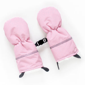 Juddlies Winter Mitts - Herringbone Pink
