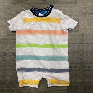 Multi-Color Stripe Hooded Romper