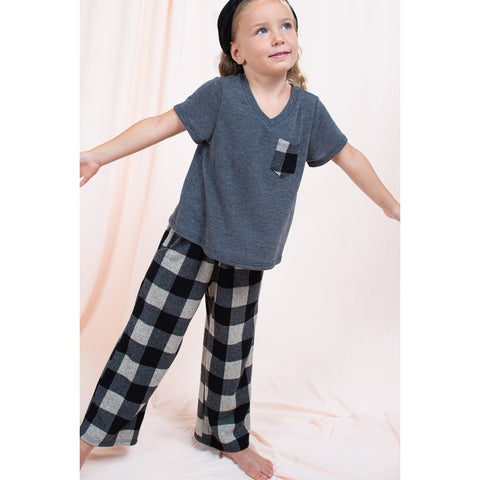 Image of SET6604-KIDS BUFFALO PRINT TOP AND BOTTOM SET