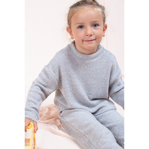 SET6613-KIDS SOLID KNIT LOUNGEWEAR