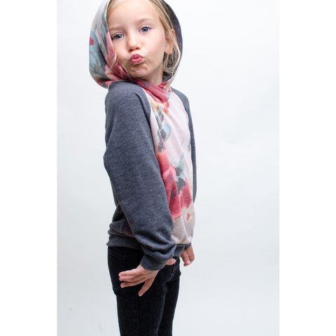 Image of TA0298-KIDS FLORAL PRINT COLOR BLOCK TOP