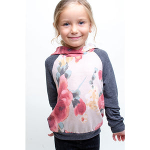 TA0298-KIDS FLORAL PRINT COLOR BLOCK TOP