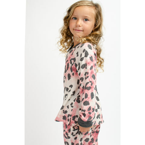 Image of TA0305-KIDS TIE DYE ANIMAL PRINT TOP