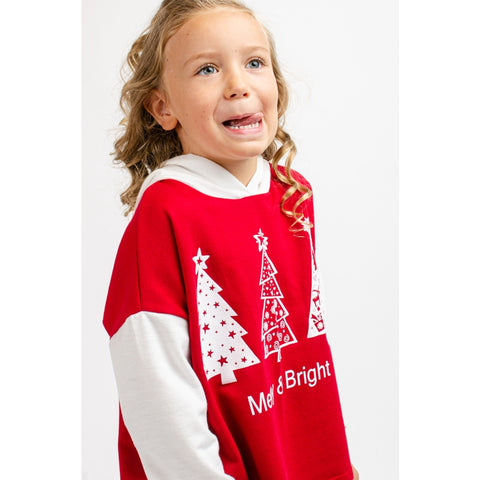 Image of TA0336-KIDS CHRISTMAS TREE PRINT HOODIE