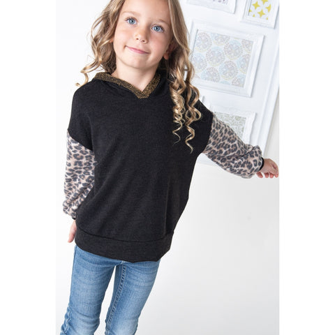 Image of TA0402-KIDS LEOPARD PRINT SLEEVES HOODIE TOP