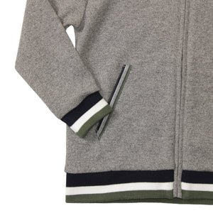 Zip Up Hoodie with Contrast Stripe Cuffs