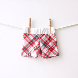 boys plaid swim trunks