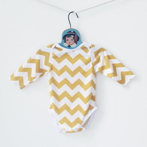 chevron bodysuit - mustard yellow