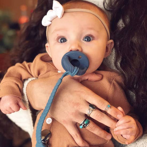 Image of Itzy Ritzy - Blue + Silver Sweetie Strap™ Silicone Pacifier Clip