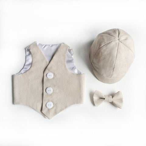 Image of linen vest set - natural