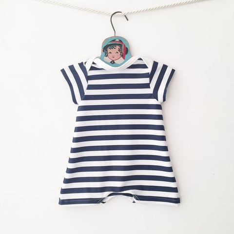Image of navy stripe swimsuit