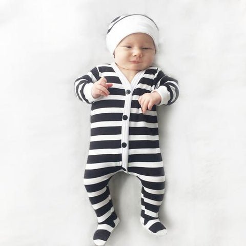 striped sleeper and hat - black and white