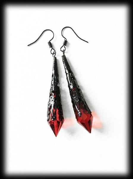 Red teardrop earrings, vintage jewelry, black filigree, gothic jewelry, wedding earrings, bridesmaid jewelry