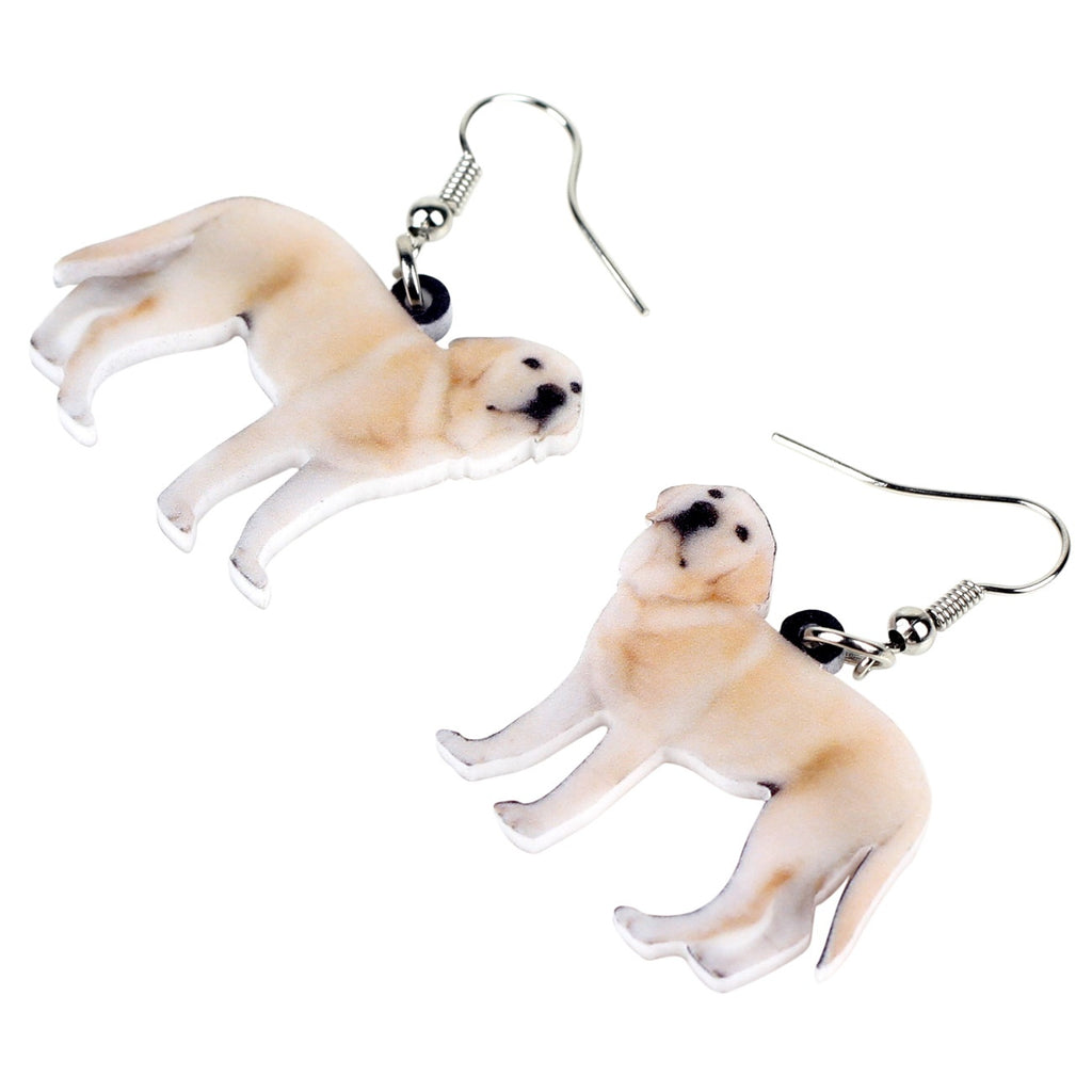 Acrylic Standing Labrador Retriever Dog Puppy Earrings Drop Dangle Unique Animal Jewelry For Women Girls Pets Lovers Charms Gift
