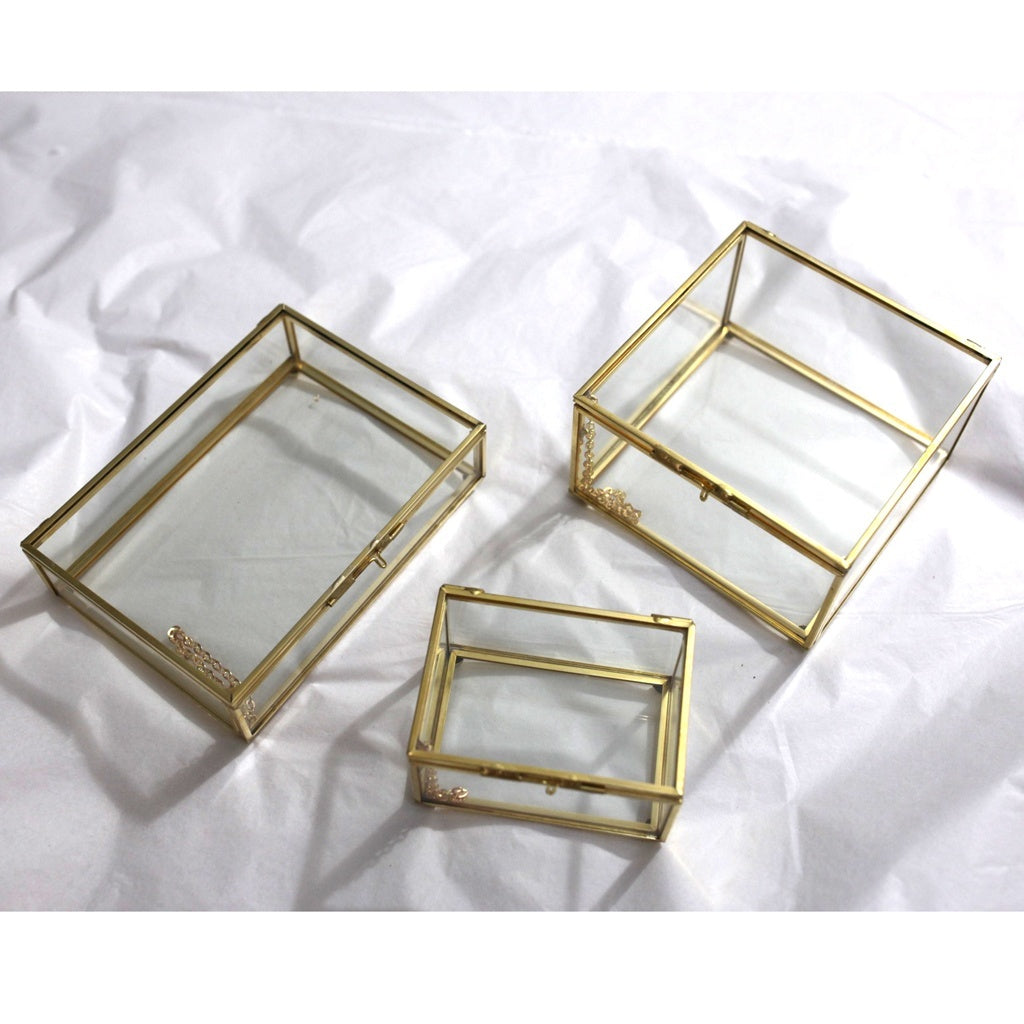 Flameer Geometric Glass Jewelry Box Tabletop Succulent Plants Container Home Decoration