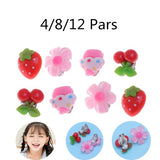 4 Pair of Kids Children Lovely Clip-on Earrings Girls Cute Play Ear Clip Party Favors