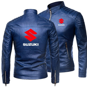 Newest Suzuki Motorcycle Leather Jacket Men Classic Design Multi-Zippers Biker Jackets Male Bomber Leather Jackets Coats