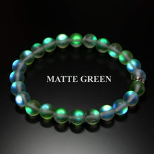 Load image into Gallery viewer, Mermaid Glass Quartz Glowing Aura Moonstone Bracelet Matte 8mm for her women valentine birthday gift Stretch Pink Green Aqua