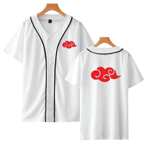 New Sale Baseball Jacket Naruto Akatsuki Costume Anime Baseball Shirt Short Sleeve Tees Hip Hop Uchiha Itachi Streetwear