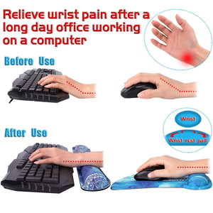 Keyboard Wrist Rest Pad and Mouse Pad Wrist Rest Support -  Pain Relief & Ergonomic Support