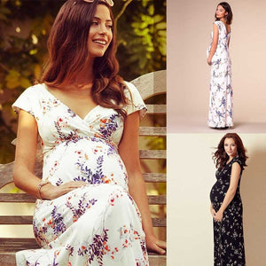 women dress maternity photography accessories floral short-sleeved dresses for pregnant women maternity long dress clothing woman 2019