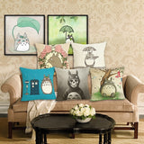 High Quality Cartoon Totoro Home Decorative Cotton Linen cushion cover pillow covers Throw Pillow Square Cojines 18'
