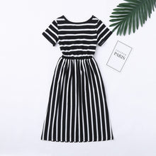 Load image into Gallery viewer, Toddler Baby Girls Short Sleeve Striped Print Dress Kids Dresses Clothes Suitable for 2-12 Years Old