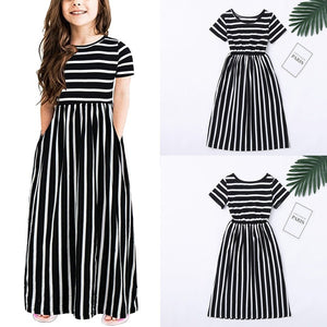 Toddler Baby Girls Short Sleeve Striped Print Dress Kids Dresses Clothes Suitable for 2-12 Years Old