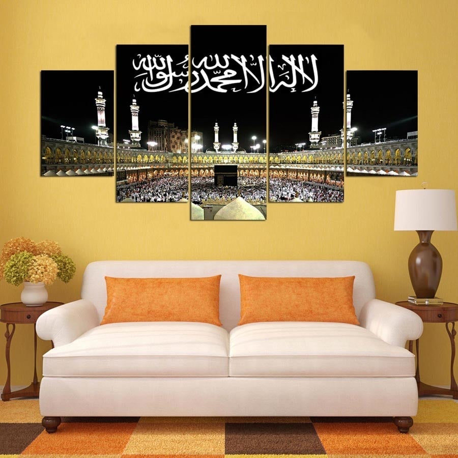 Wall Art Abstract 5 Pieces Islamic Decorative Oil Paintings Muslim Modern Pictures Art Poster for Home Decor