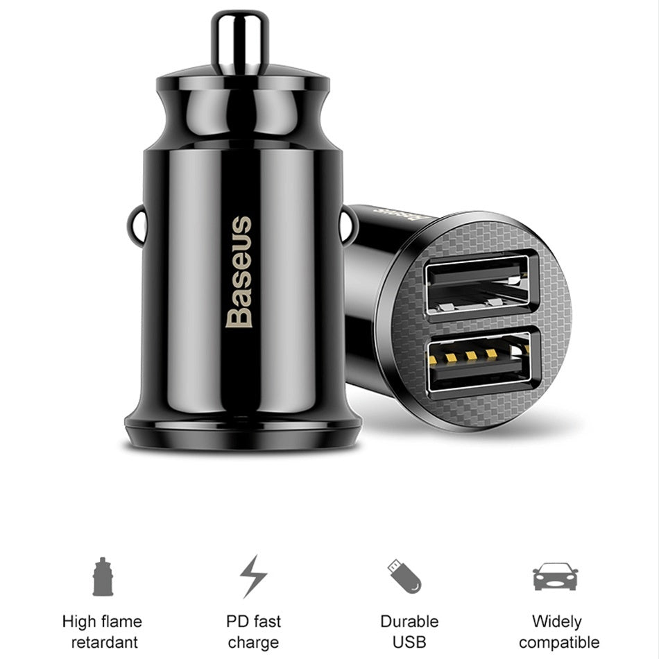 Baseus Mini Car-Charger Dual USB Car Charger Adapter Mobile Phone Car USB Charger Auto Charge 2 Port for Samsung iPhone