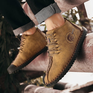 Mens Oxford Leather Shoes Casual Business Leather Boots Driving Boots