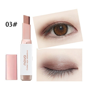 New Easy to Wear Velvet Double Color Matte Eye Shadow Stick 6 Shimmer Colors Luminous Eyeshadow Brand Makeup