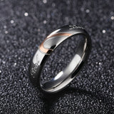 Heart Shape Matching Titanium Promise Ring for Couple  Stainless Steel Wedding Bands Rings