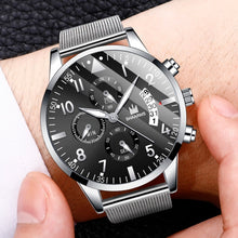 Load image into Gallery viewer, SHAARMS Christmas Gift Fashion Watches Men'S Luxury Mesh Belt Stainless Steel Quartz Watch Black Ultra Thin Business Casual Wristwatch