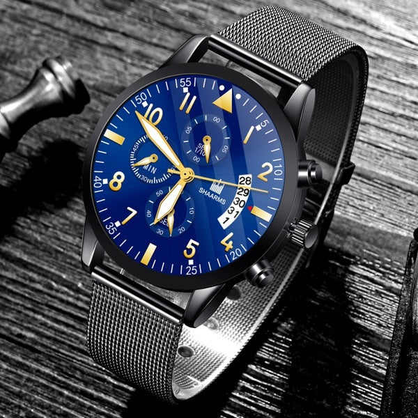 SHAARMS Christmas Gift Fashion Watches Men'S Luxury Mesh Belt Stainless Steel Quartz Watch Black Ultra Thin Business Casual Wristwatch