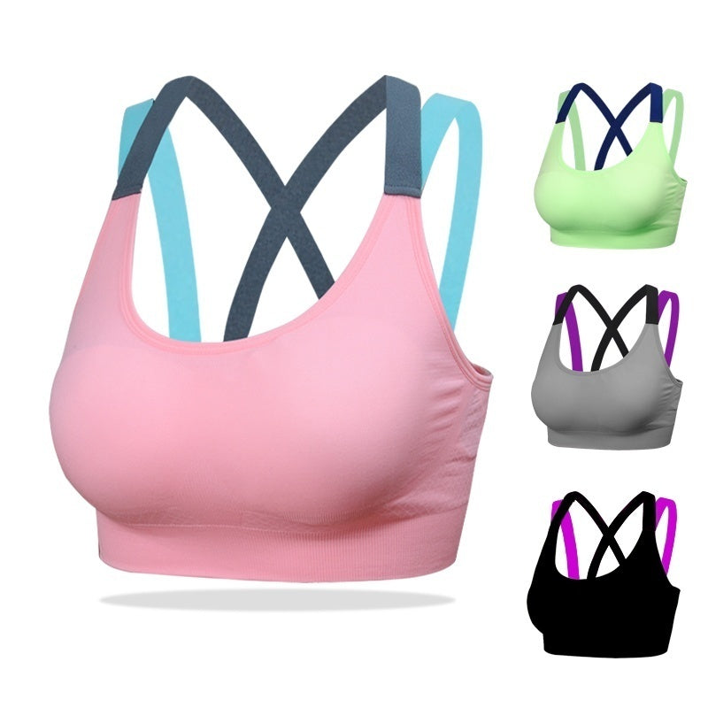 Women Stitching Color Padded Sport Bra Shirt for Running Gym Fitness Yoga Shirts Breathable and Soft Bras Slim Sleeveless Racerback Workout Tank Top Vest