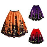 2019 New Women Ladies Fashion Plus Size Bat Pumpkin Print Halloween Vintage Skirt