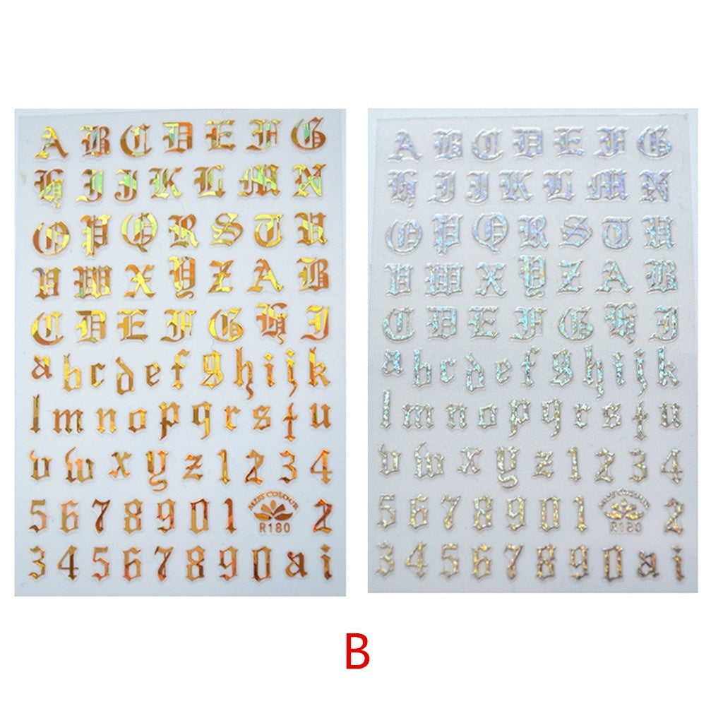 New ins trendy  Number  Nail Sticker Personality Sanskrit 3D Self-adhesive  Ultra thin Sticker 2/4 PCS