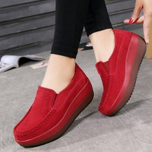 Load image into Gallery viewer, Womens Platform Shoes Slip On Casual Shoes Leather Loafers Size 35-42