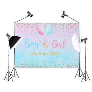 Boy or Girl Gender Reveal Backdrop Blue Pink Dots Balloon Photography Background