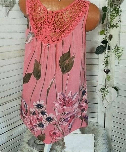 Women Fashion Back Hollow Lace Blouse Round Neck Floral Print Sleeveless Casual Plus Size Tank Tops (XS-5XL) 4 Colors