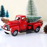 Christmas Decoration Red Metal Truck Table Top Decor for Kids Christmas Gifts Vintage Truck with Movable Wheel