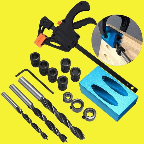 Set A/B/C/D Pocket Hole Screw Jig 15 Degrees Dowel Drill Joinery Kit Carpenters Wood Woodwork Guides Joint Angle Locator Tool