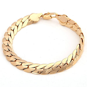 18K Solid Yellow Gold Men's Bracelet Chain Jewelry Gift Men Jewelry Women Jewelry 220mm 8.5'