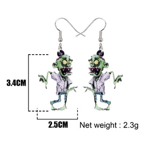Acrylic Halloween Cartoon Scary Zombie Earrings Drop Dangle Fashion Novelty Jewelry For Women Girls Party Charms Gifts
