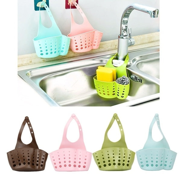2019 Kitchen Accessory Portable Bags Home Kitchen Tools Hanging Drain Bag Basket Bath Storage Sink Holder(Color:Blue,Coffee,Green,Pink)