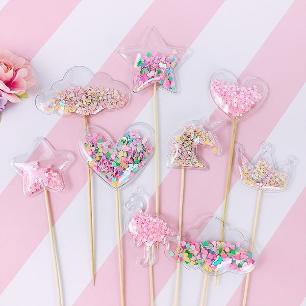 5Pcs/lot Bling Crown Stars Hearts Cake Toppers Shiny Cupcake Topper for Wedding Baby Shower Birthday Party Cake Decorations